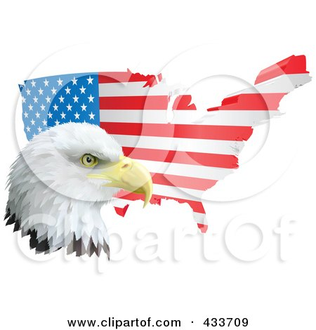 Royalty-Free (RF) Clipart Illustration of a American Eagle In Front Of A Flag Map by AtStockIllustration