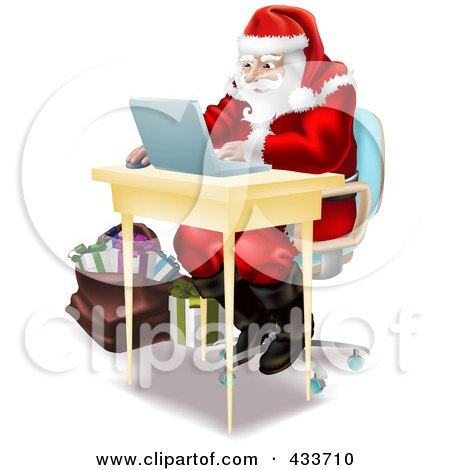 Royalty-Free (RF) Clipart Illustration of Santa Using A Laptop To Do His Christmas Shopping Online by AtStockIllustration