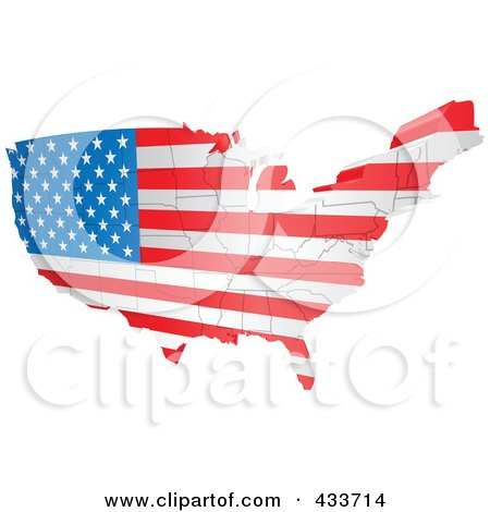 Royalty-Free (RF) Clipart Illustration of an American Map Flag by AtStockIllustration