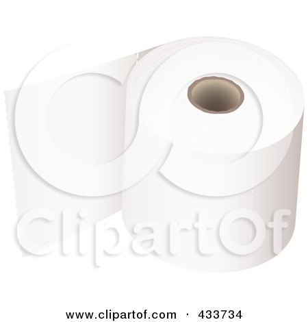 Royalty-Free (RF) Clipart Illustration of a Roll Of Toilet Paper - 1 by michaeltravers