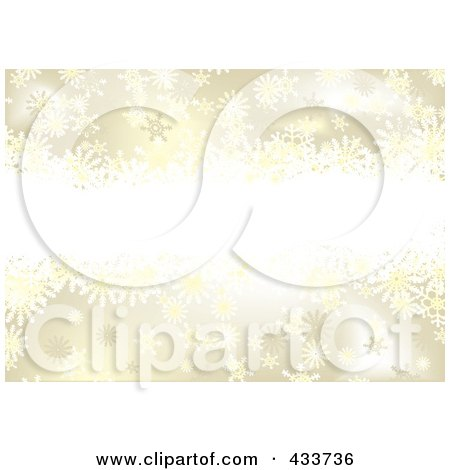 Royalty-Free (RF) Clipart Illustration of a Background Of Snowflakes On Gold With Copyspace by michaeltravers