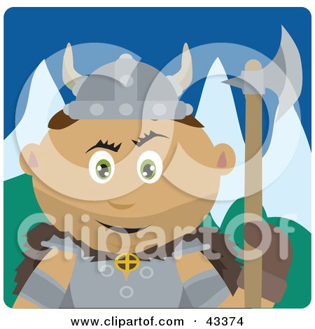 Clipart Illustration of a Latin American Viking Guard Man Holding An Ax by Dennis Holmes Designs
