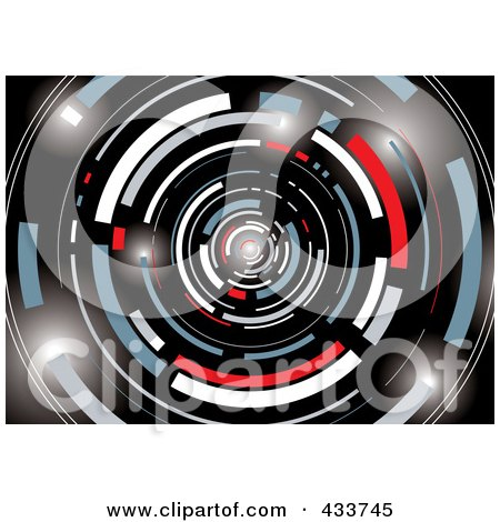 Royalty-Free (RF) Clipart Illustration of a Black, White, Gray, Red And Blue Galactic Tunnel by michaeltravers