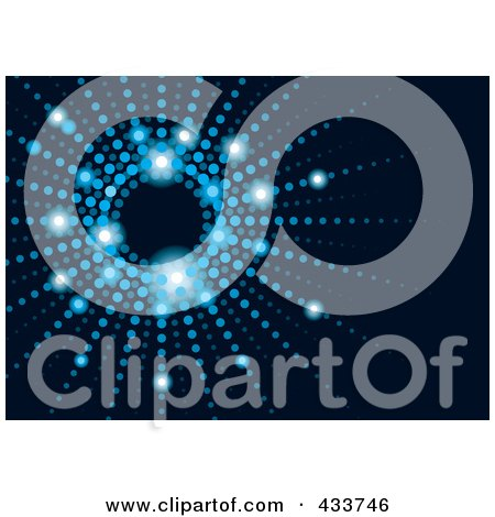 Royalty-Free (RF) Clipart Illustration of a Vortex Of Blue Lights On Black by michaeltravers