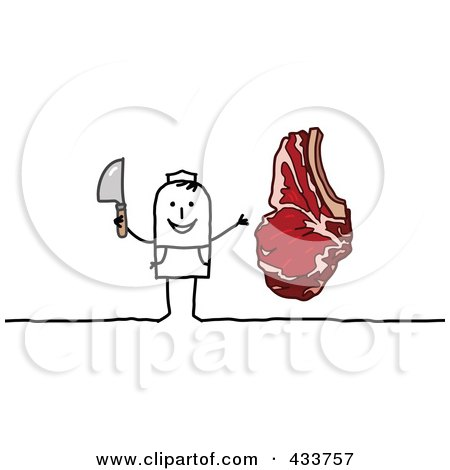 Royalty-Free (RF) Clipart Illustration of a Stick Man Butcher Holding A Knife And Standing By A Steak by NL shop