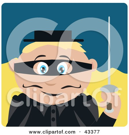 Clipart Illustration of a Caucasian Masked Outlaw Boy Holding A Sword by Dennis Holmes Designs