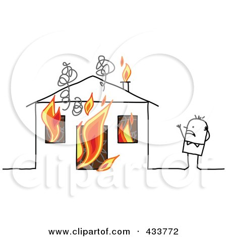 Royalty-Free (RF) Clipart Illustration of a Stick Man Standing Near His Burning House by NL shop