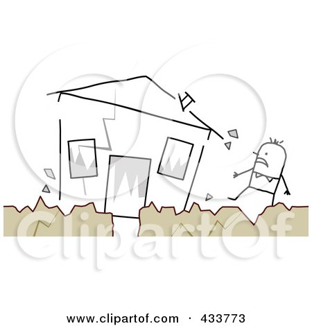 Royalty-Free (RF) Clipart Illustration of a Stick Man Standing Near His Crumbling House During An Earthquake by NL shop