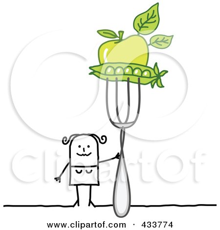 Royalty-Free (RF) Clipart Illustration of a Stick Woman Holding Peas And An Apple On A Fork by NL shop