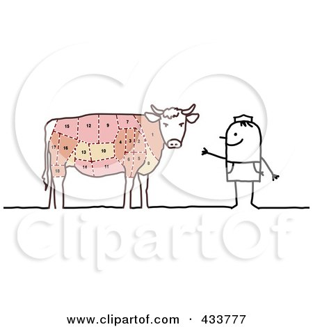 Royalty-Free (RF) Clipart Illustration of a Stick Man Butcher By A Cow by NL shop