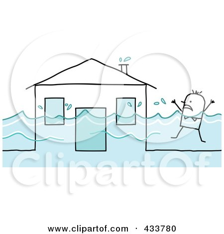 Royalty-Free (RF) Clipart Illustration of a Stick Man Swimming Near His Flooded House by NL shop