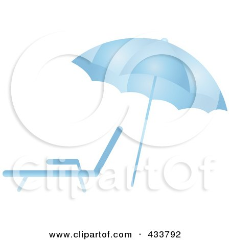 Royalty-Free (RF) Clipart Illustration of a Blue Beach Umbrella Over A Lounge Chair by Pams Clipart