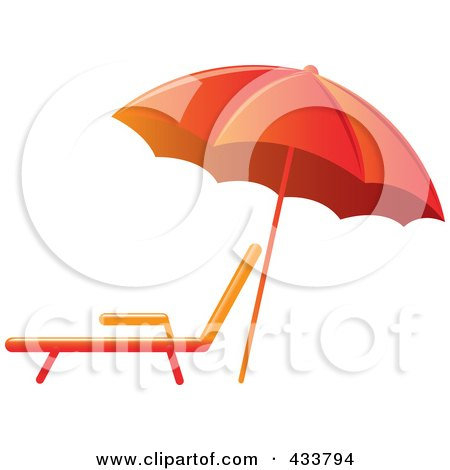Royalty-Free (RF) Clipart Illustration of an Orange Beach Umbrella Over A Lounge Chair by Pams Clipart