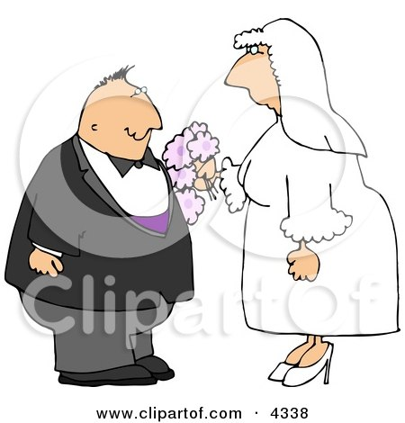 Man and Woman Getting Married to Each Other Clipart by djart