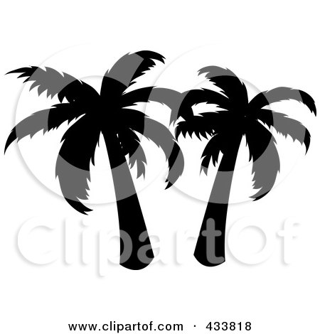 Royalty-Free (RF) Clipart Illustration of a Black Silhouette Of Two Palm Trees by Pams Clipart