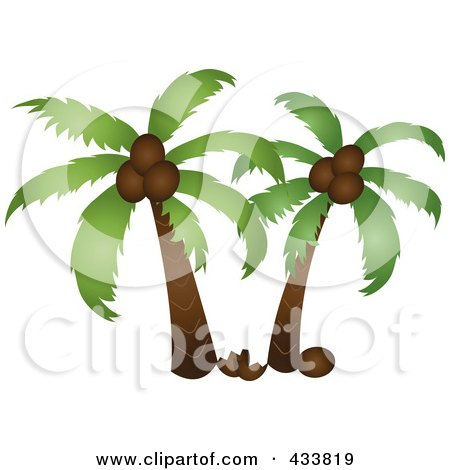 Royalty-Free (RF) Clipart Illustration of Two Palm Trees With A Coconut On The Ground by Pams Clipart