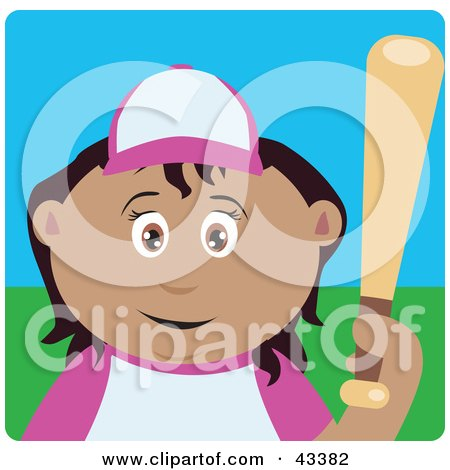 Clipart Illustration of a Latin American Girl Batting During A Baseball Game by Dennis Holmes Designs