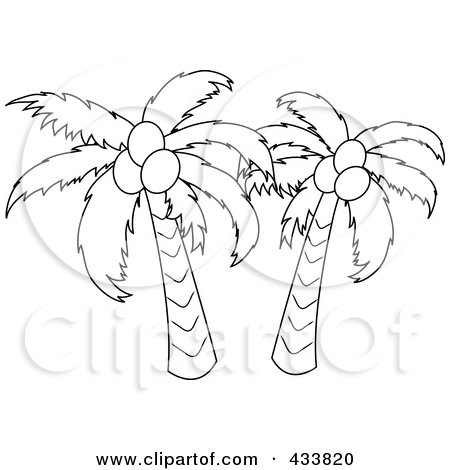 Royalty-Free (RF) Clipart Illustration of an Outline Of Two Coconut Palm Trees by Pams Clipart