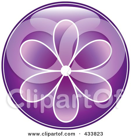 Royalty-Free (RF) Clipart Illustration of a Shiny Round Purple Flower Icon by Pams Clipart