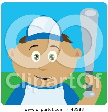 Clipart Illustration of a Latin American Boy Playing Baseball And Holding A Bat by Dennis Holmes Designs