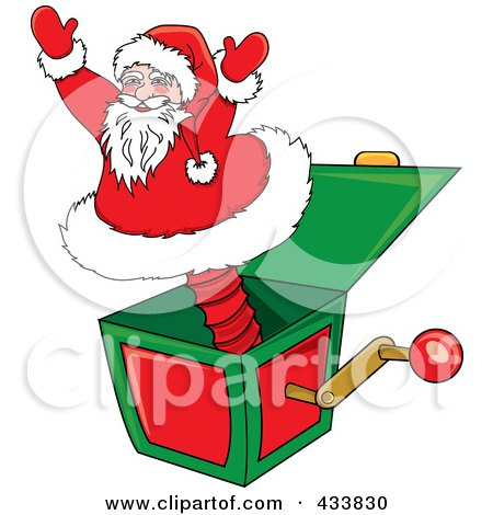 Royalty-Free (RF) Clipart Illustration of a Santa Jack In The Box Christmas Toy by Pams Clipart
