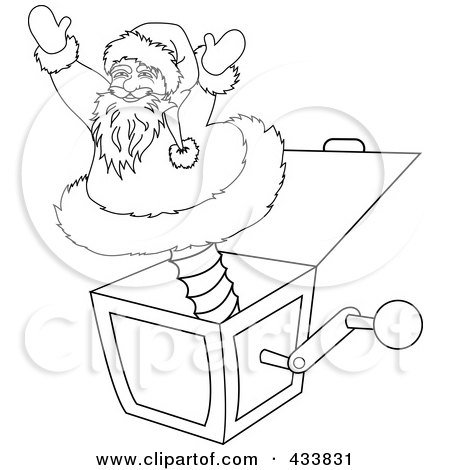 Royalty-Free (RF) Clipart Illustration of a Coloring Page Outline Of A Santa Jack In The Box Christmas Toy by Pams Clipart
