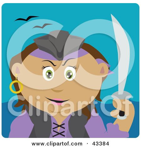 Clipart Illustration of a Latin American Pirate Woman Holding A Sword by Dennis Holmes Designs