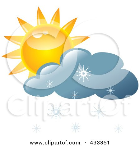 Royalty-Free (RF) Clipart Illustration of a Yellow Sun And Blue Snow Cloud by Pams Clipart