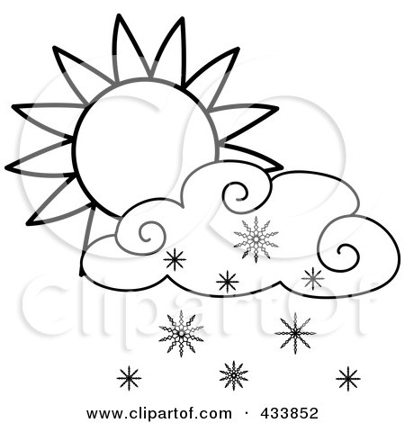 Royalty-Free (RF) Clipart Illustration of an Outline Of A Sun And Snow Cloud by Pams Clipart