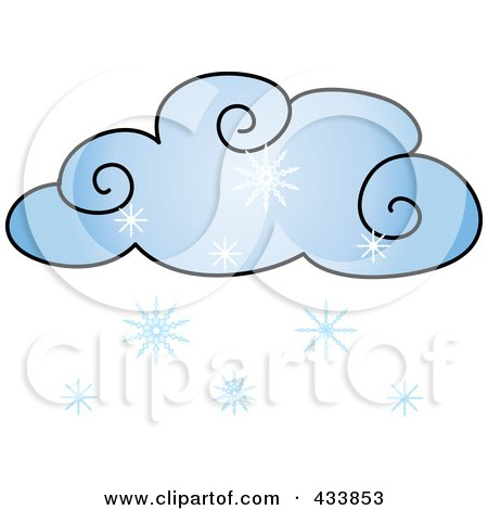 Royalty-Free (RF) Clipart Illustration of a Blue Cloud With Snow by Pams Clipart
