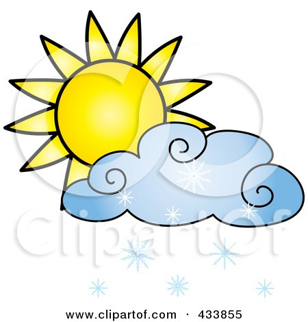 Royalty-Free (RF) Clipart Illustration of a Sun And Blue Snow Cloud by Pams Clipart