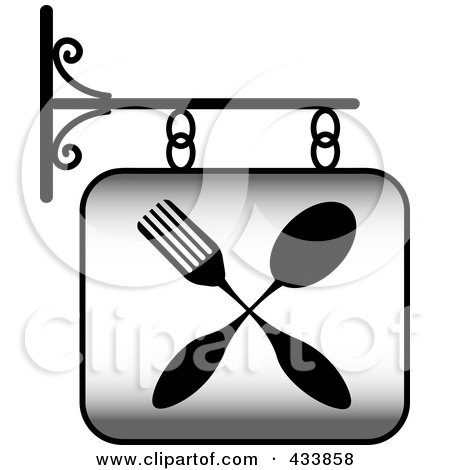 Royalty-Free (RF) Clipart Illustration of a Grayscale Restaurant Sign With A Fork And Spoon by Pams Clipart