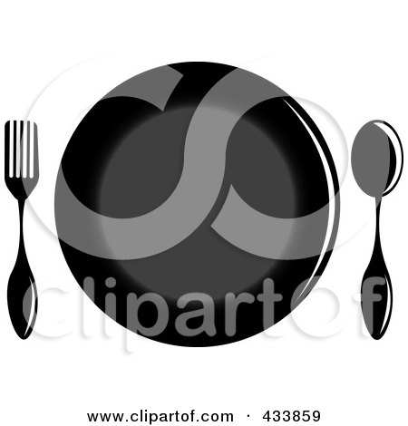 Royalty-Free (RF) Clipart Illustration of a Black Plate With A Spoon And Fork by Pams Clipart