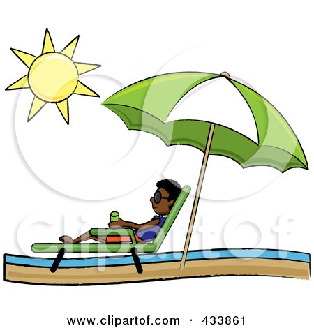 Royalty-Free (RF) Clipart Illustration of a Black Stick Boy Relaxing In A Lounge Chair On The Shore Under A Beach Umbrella by Pams Clipart
