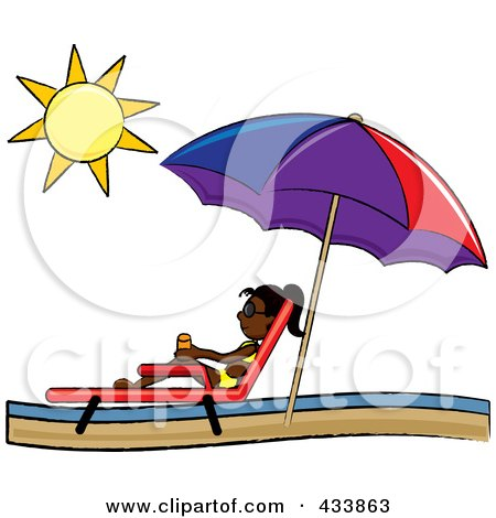Royalty-Free (RF) Clipart Illustration of a Black Stick Girl Relaxing In A Lounge Chair On The Shore Under A Beach Umbrella by Pams Clipart