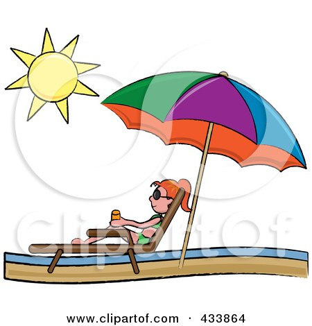 Royalty-Free (RF) Clipart Illustration of a Red Haired Stick Girl Relaxing In A Lounge Chair On The Shore Under A Beach Umbrella by Pams Clipart