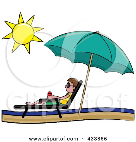 Royalty-Free (RF) Clipart Illustration of a Stick Brunette Boy Relaxing In A Lounge Chair On The Shore Under A Beach Umbrella by Pams Clipart