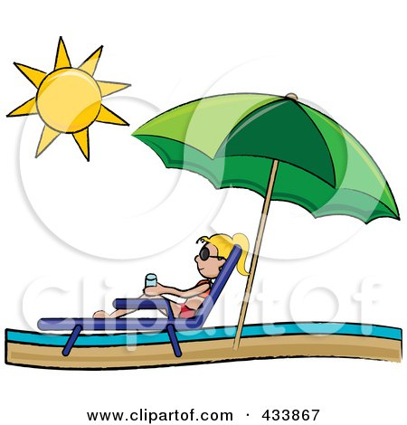 Royalty-Free (RF) Clipart Illustration of a Blond Stick Girl Relaxing In A Lounge Chair On The Shore Under A Beach Umbrella by Pams Clipart