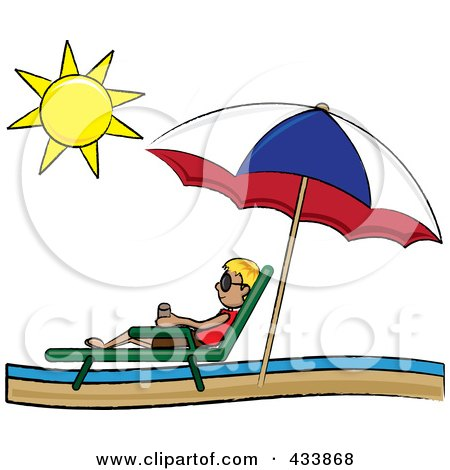 Royalty-Free (RF) Clipart Illustration of a Stick Blond Boy Relaxing In A Lounge Chair On The Shore Under A Beach Umbrella by Pams Clipart