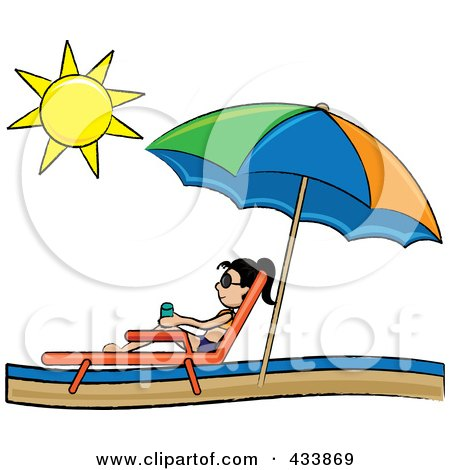 Royalty-Free (RF) Clipart Illustration of an Asian Stick Girl Relaxing In A Lounge Chair On The Shore Under A Beach Umbrella by Pams Clipart