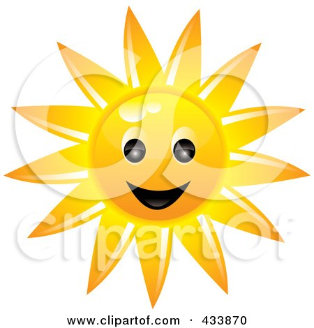 Royalty-Free (RF) Clipart Illustration of a Smiling Sun Face by Pams Clipart