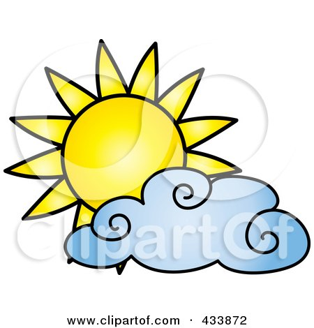 Royalty-Free (RF) Clipart Illustration of a Sun And Blue Cloud by Pams Clipart