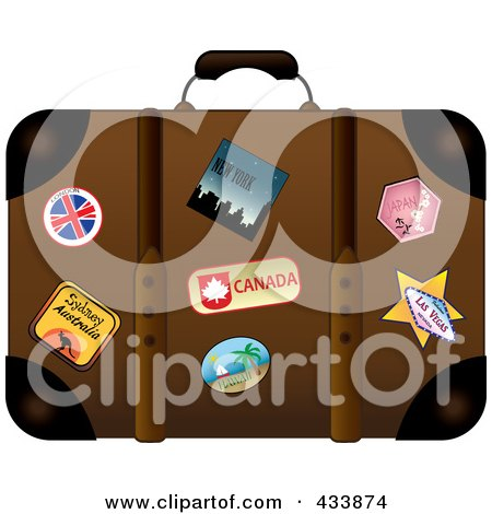 Royalty-Free (RF) Clipart Illustration of a Well Used Brown Suitcase With Travel Stickers And Pins by Pams Clipart