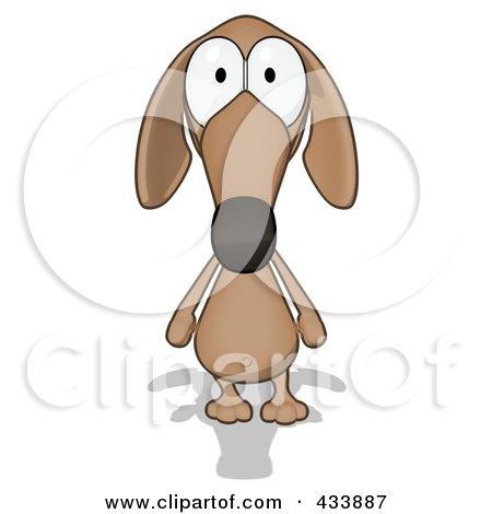 Cartoon Brown Pookie Wiener Dog Facing Front Posters, Art Prints