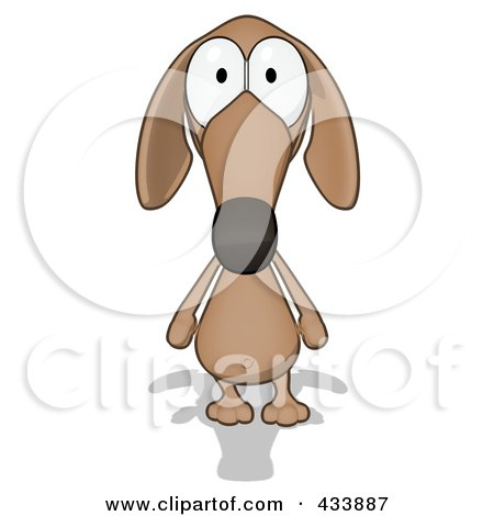 Royalty-Free (RF) Clipart Illustration of a Cartoon Brown Pookie Wiener Dog Facing Front by Julos