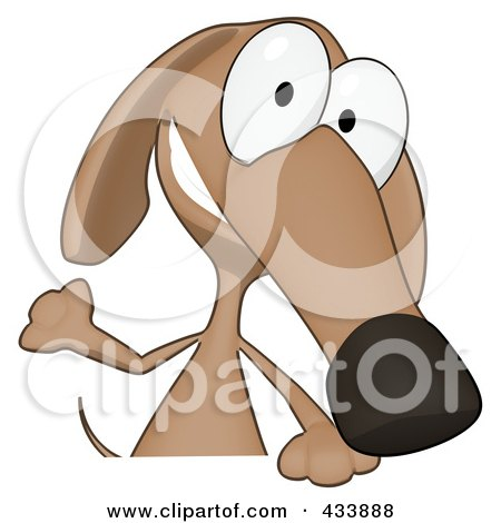 Royalty-Free (RF) Clipart Illustration of a Cartoon Brown Pookie Wiener Dog And A Blank Sign - 1 by Julos