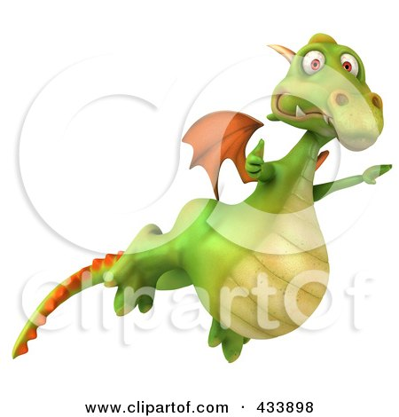 Royalty-Free (RF) Clipart Illustration of a 3d Dragon Flying Past With A Thumbs Up by Julos