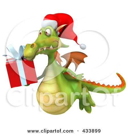 Royalty-Free (RF) Clipart Illustration of a 3d Christmas Dragon Flying With A Present by Julos