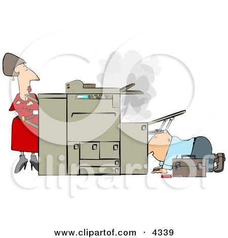 Businesswoman Watching a Repairman Fix Her Broken Photocopy Machine Posters, Art Prints