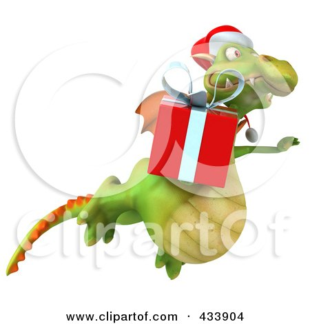 Royalty-Free (RF) Clipart Illustration of a 3d Christmas Dragon Flying With A Gift by Julos